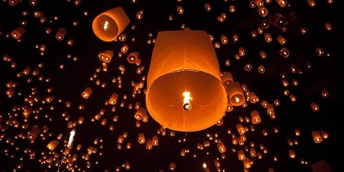Thailand - floating lanterns Loi Krathong 500 x 250